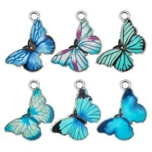 10x Metal Alloy Enamel Butterfly Charms Pendants DIY Necklace Earrings Jewelry