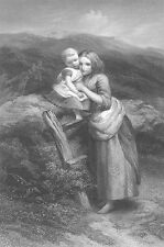 PRETTY YOUNG GIRL & BABY SISTER REST CUDDLE by Road ~ 1874 Art Print Engraving