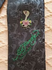 Ed Hardy Cobra Men's Black/Grey Silk Tie