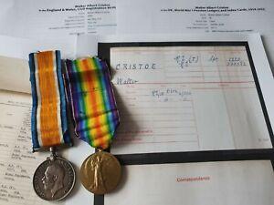 WW1 Pair, British War & Victory Medal to Spr Cristoe, R.E Territorial, Pancras