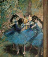 Dancers In Blue Edgar Degas Home Decor Print CANVAS HQ Giclee Wall Art Small