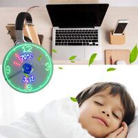 AU_ Creative Mini USB LED Clock Real Time Temperature Display Summer Cooling Fan