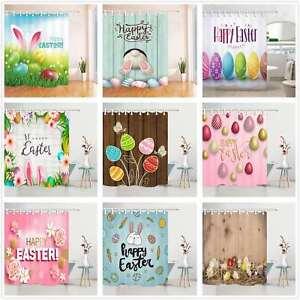 Happy Easter Bathroom Waterproof Fabric Shower Curtain & Hooks Set Eggs Rabbit