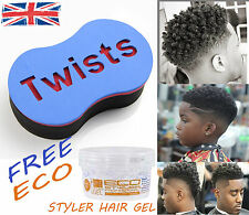 ORG Magic Twists Barber Sponge Brush For Locs Afro Coil Curl + Eco Hair Gel SML