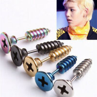 1pcs Punk Stud Earrings Stainless Steel Screw Fake Ear Plug Jewelry Fashion EF