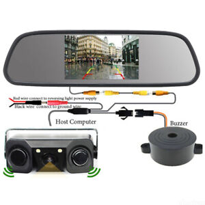 "3-In-1 Car Reverse Parking Camera Radar Sensor & HD 5"" Rear View Mirror Monitor"