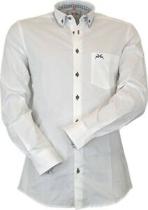Maddox Trachten Slim Line Hemd mit Button-Down Kragen und Elastan