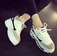 Women's Trainers Round Toe High Platform Creeper Sneakers Shoes Casual Lace Up