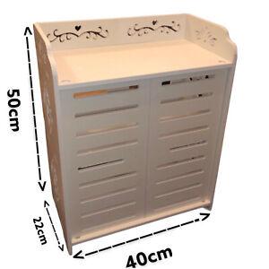 Mini White Wooden Wardrobe STYLISH PULL DOORS NEW