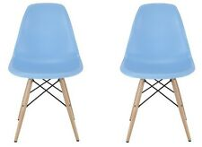 Set of 2 Eames Style DSW Light Blue Plastic Shell Chair with Wood Eiffel Legs