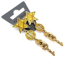 PILGRIM Drop Earrings Gold Green Amber Swarovski Vintage Heart Star & Key BNWT