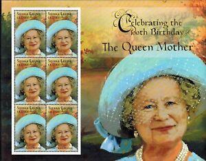 MODERN GEMS - Sierra Leone - The Queen Mother 100th Birthday - Sheet of 6 - MNH