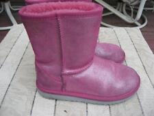 Girls UGG Girls Sz 2 Classic Glitter Pink Sparkle 1002495 Sheepskin Boots