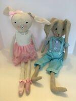 """Easter Bunny Rabbit Couple Boy Girl Shelf Sitter Dolls Linen Home Decor 21"""""""