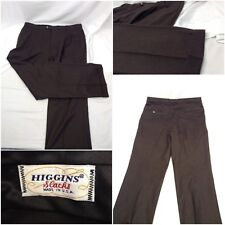 Higgins Pants 34 Brown Pleat 100% Wool Made In USA Mint A240