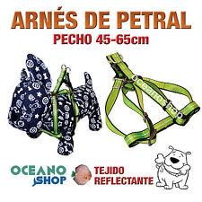 ARNÉS PETRAL VERDE TEJIDO REFLECTANTE AJUSTABLE PERRO PECHO 45-65cm L77 3374