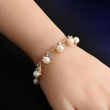 Fashion Gift Lady Women Gold Plated Bangle Crystal Cuff Elegant Bracelet Jewelry
