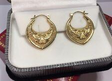 """Vintage 14k Yellow Gold Diamond Cut Filigree Artisan Bali Hoops Hoop Earrings 1"""""""
