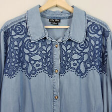 [ CITY CHIC ] Womens Rodeo Embroidered Denim Shirt / Top    L or AU 20 / US 16