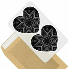 2 x Heart Stickers 7.5 cm - BW - Cool Abstract Kaleidoscope  #38832