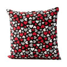 Unique Valentines Heart Cushion (Zip) Red, Grey & White Hearts-Ideal Gift-CUS05