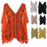 Ladies Italian Crochet Lace Layering Top Quirky Women Lagenlook Overlay Top