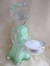 AMELIA ART GLASS ANGEL TEA LIGHT HOLDER LIGHT GREEN 15cm BOXED IDEAL GIFT