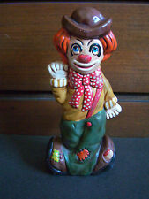 "Vintage 11 3/4"" signed Ceramic 2-Faced Clown Happy & Sad Coin Bank"