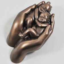 Sweet Dreams Bronze Twins Baby In Hands Ornament Born Gift Sculpture H14cm 01687