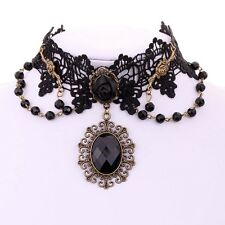 Victoria Black ROSE Flower Handmade Gem Beads Lace Chocker BIb Necklace
