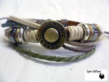 Punk / Surfeur marron, orange et blanc corde sur poignet en cuir marron bracelet Snap