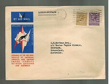 1934 London England First Flight Cover to Brisbane Australia FFC Imperial Airway