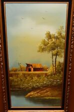 EVERETT WOODSON WINDMILL RED BARN LANDSCAPE HUGE OIL ON CANVAS PAINTING