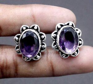 "Handmade 925 Sterling Silver Purple Amethyst Gemstone Jewelry Cuff Links Size-1"""
