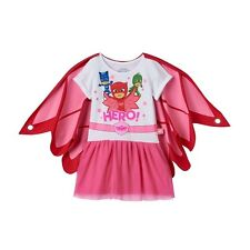 PJ MASKS Little Girls Dress With Tulle and Wing Cape, Pink, 2T