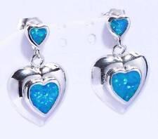 *** UK SELLER** Silver/Rhodium Plated BLUE FIRE OPAL HEART  Drop Earrings 19.8mm