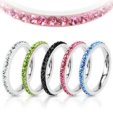 Stackable Stainless Steel Multi-Crystal Eternity Ferido Band Ring Size 5-8(4268)
