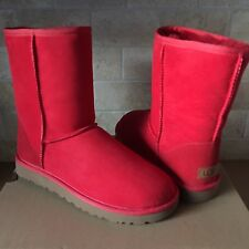 UGG Classic Short II 2.0 Red Ribbon Water-resistant Suede Boots Size 6 Womens