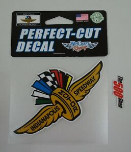 Indianapolis Motor Speedway Gold Wings Wheel Flag Perfect Cut Viny Decal IMS