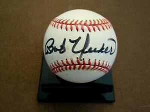 BOB UECKER VOICE OF THE BREWERS HOF SIGNED AUTO VINTAGE OAL GAME BASEBALL JSA