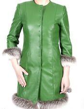 NWT GREEN LEATHER COAT WHITE CROSS FOX FUR TRIM GREEN CRYSTAL SNAPS Sz.S