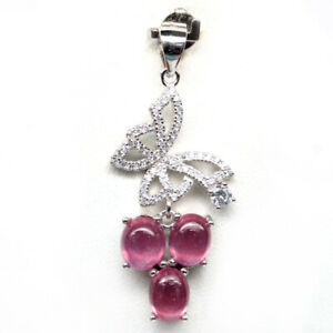 NATURAL 6 X 7 mm. PINK RUBY & WHITE CZ 925 STERLING SILVER PENDANT