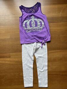 Justice Purple Rhinestone Lace Glitter Crown Tank & Ivory Leggings Set Sz 12