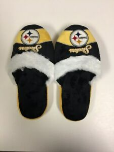 Pittsburgh Steelers Womens Stripe Logo Slippers