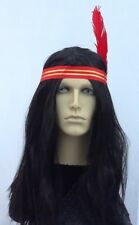 LONG BLACK INDIAN FANCY DRESS WIG WITH HEADBAND &  RED FEATHER UK