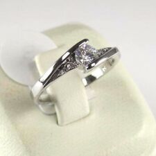 R#9790 simulated White Topaz gemstone solitaire ladies silver ring size 10
