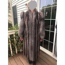 Raccoon Fur With  Silver Fox Sleeves /Tuxedo Fur Coat,Size M