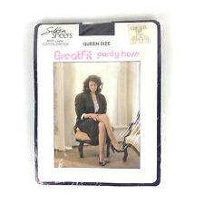 Greatfit Silken Sheers Pantyhose Queen Size Off Black Control Top Vtg 80s