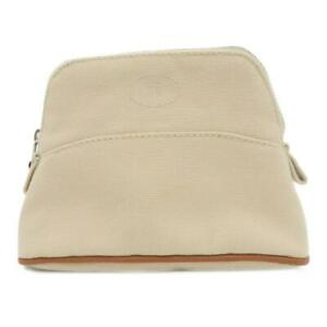 Hermes Bolide Mini Pouch Canvas Beige 9780
