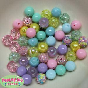 12mm Pastel Medley Acrylic Mixed Style Bubblegum Beads Lot 50 pc.chunky